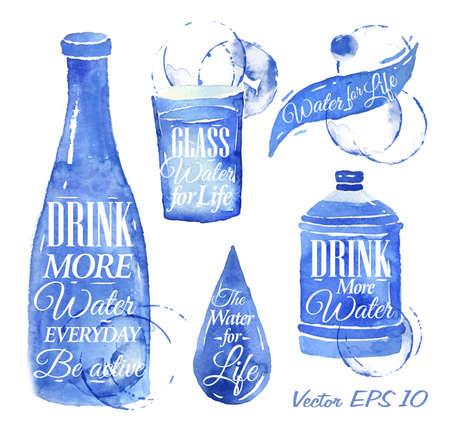gocce di acqua: Pointer disegnata versare l'acqua con l'acqua iscrizione bere pi� acqua, Acqua per la Vita, con schizzi e le macchie stampa bottiglia di acqua, vetro, goccia, bottiglia d'acqua Vettoriali
