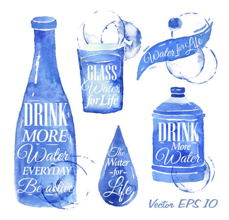 Pointer drawn pour water with the inscription water drink more water, Water for Life with splashes and blots prints bottle, of water, glass, drop, bottle of water   Иллюстрация