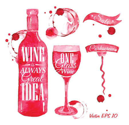 glass with red wine: Pointer drawn pour wine with the inscription wine is always good idea with splashes and blots prints bottle, of wine, glass, a corkscrew  Illustration