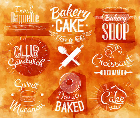 Bakery characters in retro style lettering donuts, croissants, macaron, stylized in retro in watercolor background Vector