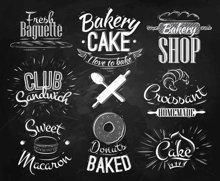 pain frais: caract�res de boulangerie dans beignets de lettrage de style r�tro, croissants, macaron, dessin stylis� � la craie sur le tableau noir