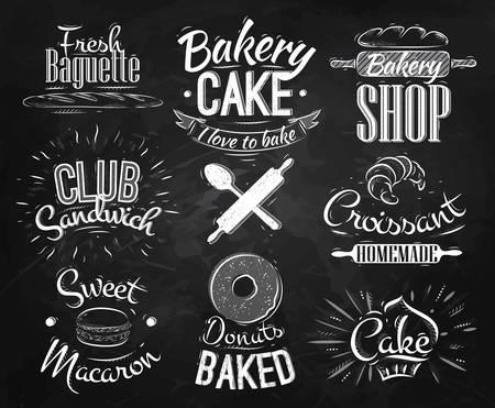 pizarron: Caracteres panader�a en donas de letras de estilo retro, croissants, macaron, estilizado dibujo con tiza en la pizarra Vectores