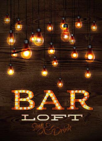 glisten: Vintage poster bar loft glowing lights on wood background in retro styles Illustration