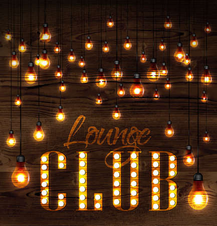 Vintage poster lounge club glowing lights on wood background in retro styles