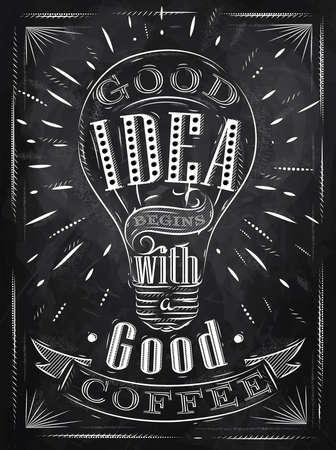 lightbulbs: Poster good idea begins with a good coffee in retro style stylized drawing with chalk on blackboard.