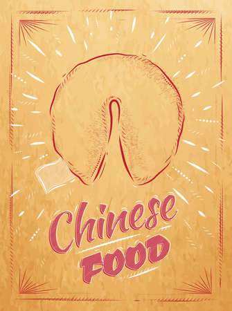 Poster chinese food in retro style lettering fortune cookies stylized drawing in kraft Vector