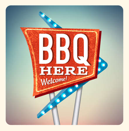 blue signage: Retro Neon Sign BBQ lettering in the style of American roadside advertising vintage style 1950s