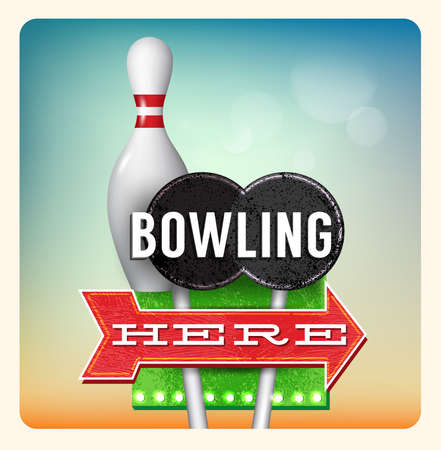 holidays vacancy: Retro Neon Sign Bowling lettering in the style of American roadside advertising vintage style 1950s