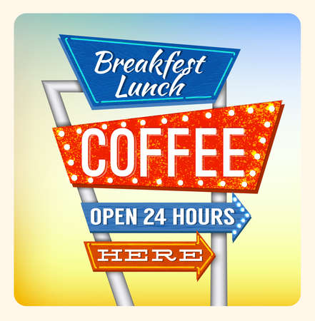 Retro Neon Sign Coffee and Breakfest lettering in the style of American roadside advertising vintage style 1950s Illustration
