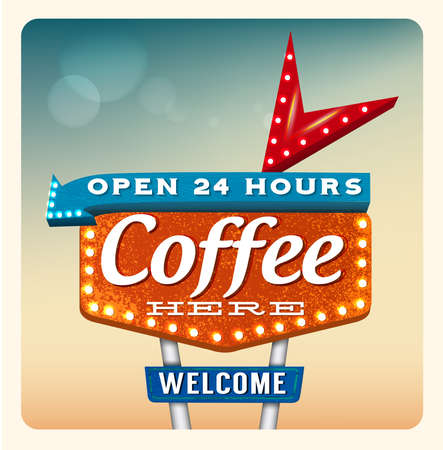 the roadside: Retro Neon Sign Coffee lettering in the style of American roadside advertising vintage style 1950s Illustration