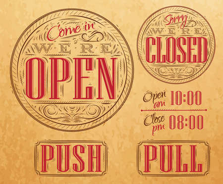 come in: Set of vintage symbol lettering come in were open, sorry were closed, push, pull  Illustration