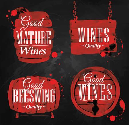Botte disegnata versare il vino con la scritta buoni vini maturi con schizzi e stampe di vino, barile di wineon lavagna.