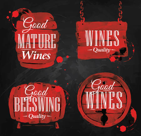 Cask drawn pour wine with the inscription good mature wines with splashes and prints of wine, cask of wineon the blackboard. Vector