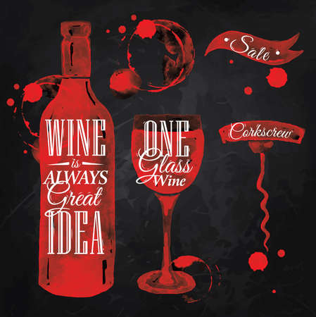 Pointer drawn pour wine with the inscription wine is always good idea with splashes and blots prints bottle, of wine, glass, a corkscrew on the blackboard. Ilustracja