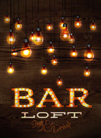 Vintage poster bar loft glowing lights on wood background in retro styles Vettoriali