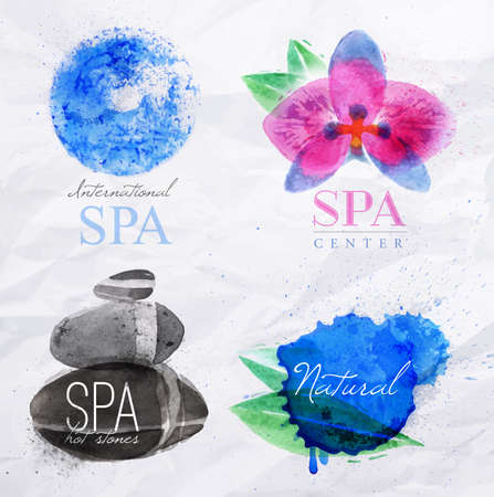 beauty spa: Set of symbols icons spa natural stones symbols orchid water droplets stylized watercolor painting
