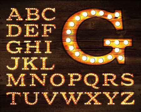 letters in retro style old lamp alphabet for light board on wood background.