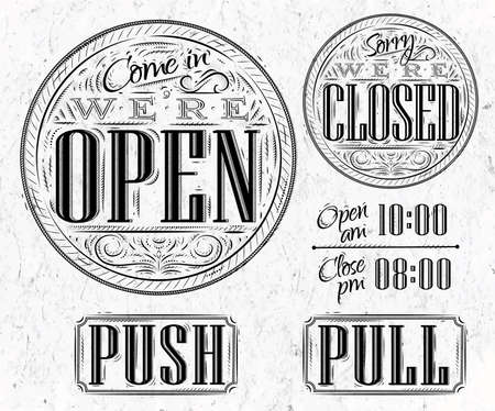 retail shop: Set of vintage symbol lettering come in were open, sorry were closed, push, pull