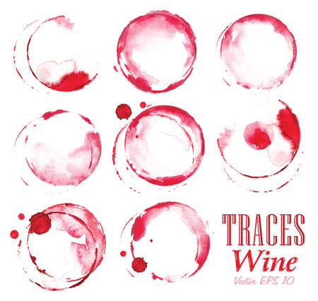 Set traces glass draw pour wine splashes and spot print. Vector
