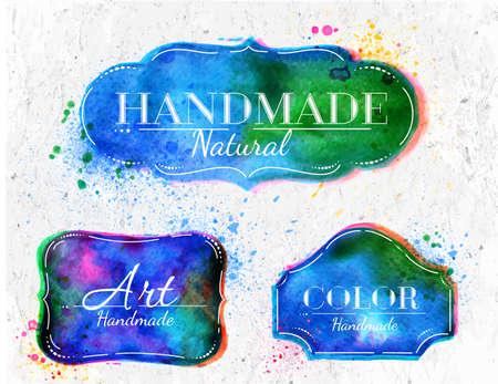 aquarelle: Set watercolor labels design elements, vintage frame handmade aquarelle overlay
