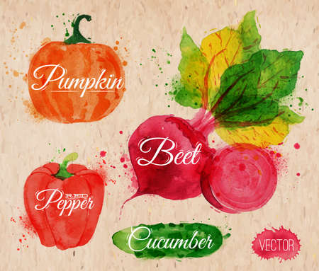 Vegetables set drawn watercolor blots and stains with a spray pumpkin, beet, pepper, cucumber on kraft paper Vector