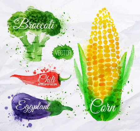 Zelenina set tažené akvarel skvrny a skvrny s spray kukuřice, brokolice, chilli, lilku