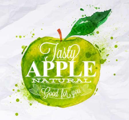 fondo verde abstracto: Cartel con manzana verde acuarela letras sabrosa manzana bien natural para usted