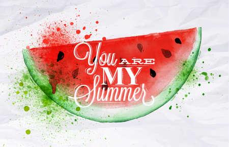 Affiche rouge aquarelle pastèque lettrage vous êtes mon été Banque d'images - 28786578