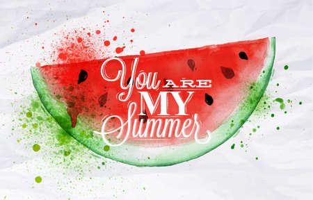 aquarelle painting art: Poster with red watercolor watermelon lettering you are my summer