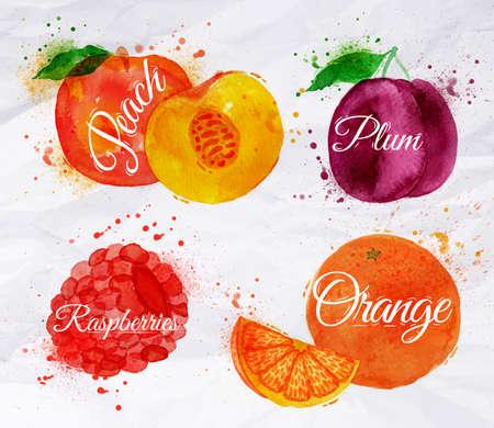 Fruit set établi taches d'aquarelle et les taches avec un spray de pêche, framboise, prune, orange Banque d'images - 28786576