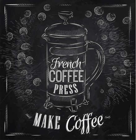 Poster belettering Franse koffiezetapparaat maken koffie in retro stijl gestileerde tekening met krijt