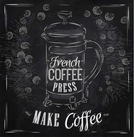 Poster lettering French coffee press make coffee in retro style stylized drawing with chalk
