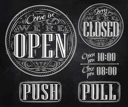 Set of vintage symbol lettering come in were open, sorry were closed, push, pull stylized drawing with chalk on blackboard