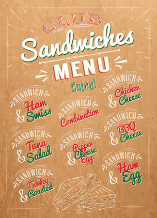 ham sandwich: Sandwiches menu the names of sandwiches , ham swiss, chicken cheese, tuna salad, bbq cheese, ham egg, pepper cheese eeg, turkry roasted design a menu stylized drawing on kraft Illustration