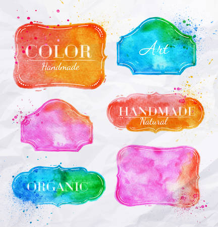 label frame: Set watercolor labels design elements, vintage frame handmade aquarelle
