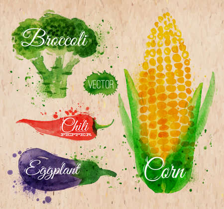 Vegetables set drawn watercolor blots and stains with a spray corn, broccoli, chili, eggplant on kraft paper Vector