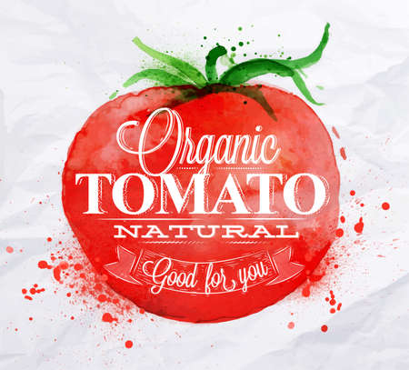 海報用紅色的水彩番茄刻字有機番茄自然對你有好處 向量圖像