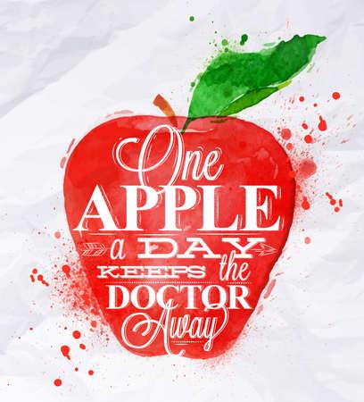 Akwarela plakat z czerwonym napisem jedno jabłko jabłko dziennie trzyma lekarza z dala Ilustracja