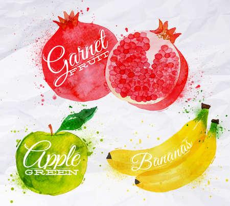 스프레이 바나나, 석류, 애플 그린 과일 세트 그린 수채화 오 점 및 얼룩