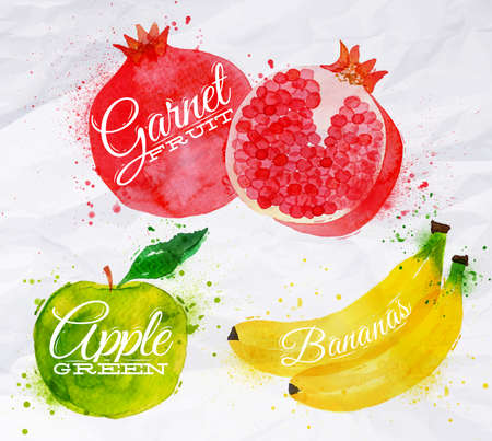 Fruit set drawn watercolor blots and stains with a spray banana, pomegranate, apple green