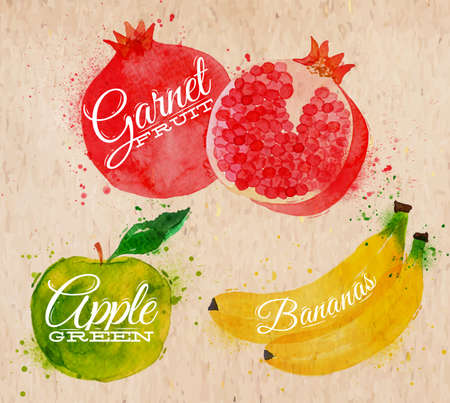 Fruit set drawn watercolor blots and stains with a spray banana, pomegranate, apple green in kraft Illustration