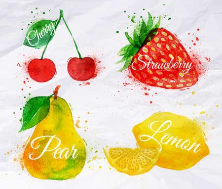 pera: Cuajado dibuja manchas de acuarela y las manchas con una cereza aerosol, limón, fresa, pera Vectores