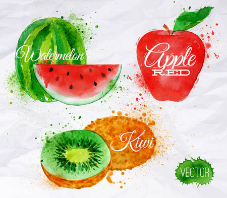 Fruit set drawn watercolor blots and stains with a spray watermelon, kiwi, apple red