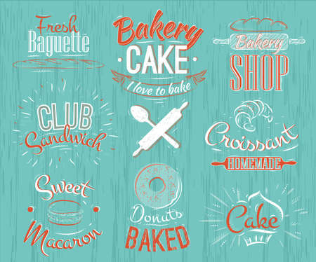 battledore: Bakery characters in retro style lettering donuts, croissants, macaron, stylized in retro style sixties Stock Photo