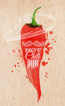 Poster with red watercolor chili pepper lettering hot chili pepper Vector