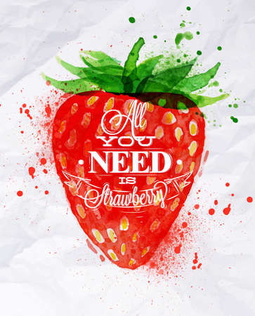 Poster watercolor strawberry lettering all you need is strawberry
