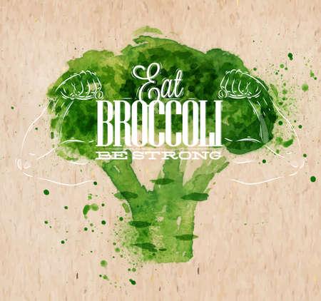Cartel con brócoli letras acuarela verde Coma brócoli sea fuerte Foto de archivo - 29429041
