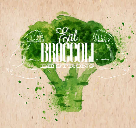 Poster met groene aquarel broccoli belettering Eet broccoli sterk Stock Illustratie