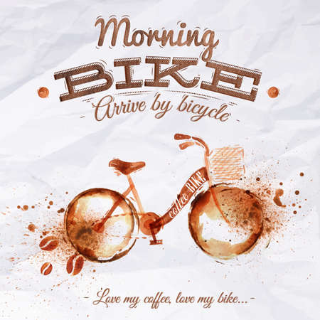 Poster coffee spot bike with lettering Morning bike arrive by bicycle Love my coffee, love my bike Vector