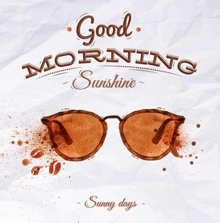 Poster koffie plek bril met belettering Goedemorgen sunshine Zonnige dagen Stock Illustratie